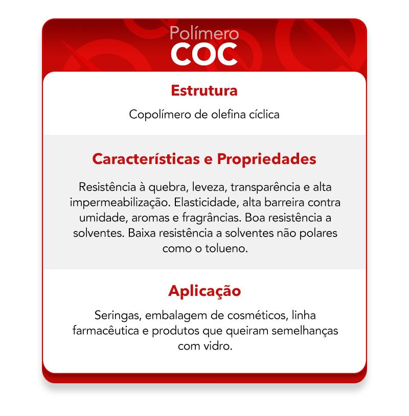 Características do polímero COC.
